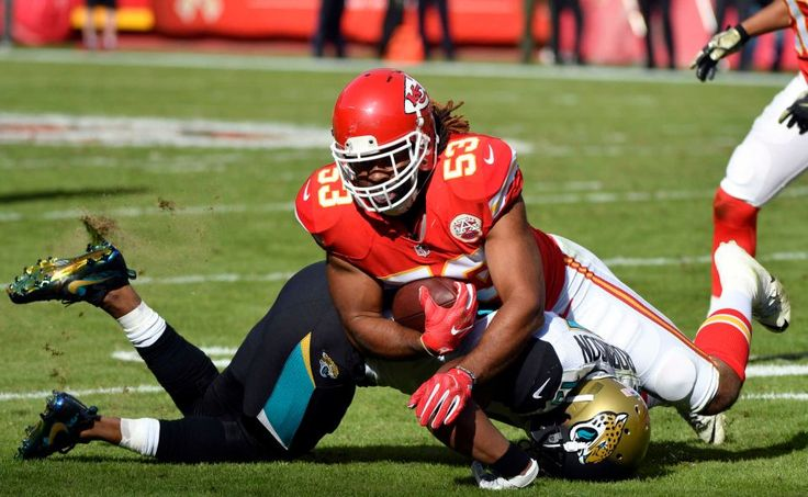 Jaguars vs. Chiefs  -  19-14, Chiefs  -  November 6, 2016  -   Jacksonville Jaguars wide receiver Allen Robinson (15) tackles Kansas City Chiefs linebacker Ramik Wilson (53), after Wilson intercepted the ball for a turnover, during the first half of an NFL football game in Kansas City, Mo., Sunday, Nov. 6, 2016.