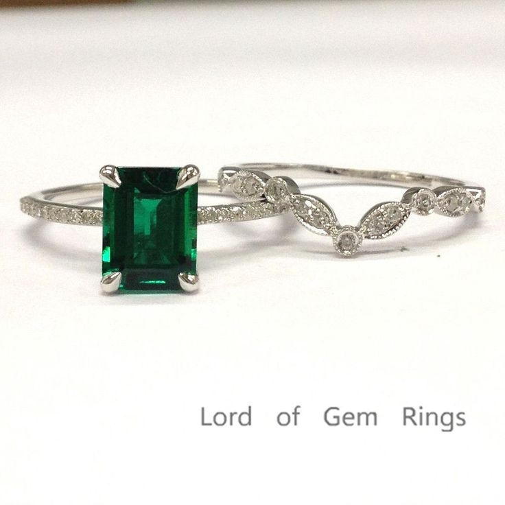$549 Emerald Shape Emerald Engagement Ring Sets Pave Diamond Wedding 14k White Gold 6x8mm Art Deco Band
