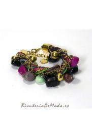 Pulsera de Trenza Colores y Piedras Naturales, a juego con el collar de trenza colores, me encanta!
