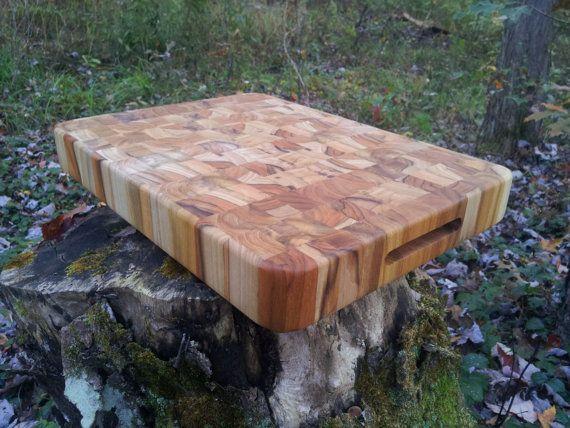 Teak End Grain Cutting Board By Jcustomwoodworking On Etsy. Rolling Kitchen  IslandKitchen ...