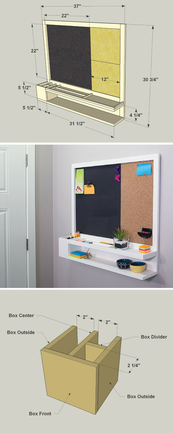 Make use of a blank wall in your entryway or kitchen with a message center that will keep the whole family organized and informed. It features storage, a magnetic chalkboard, and a cork board for pinning up notes. FREE PLANS at buildsomething.com