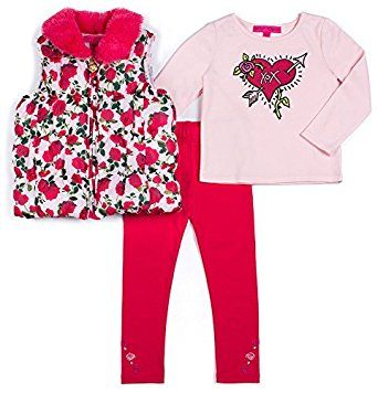 Betsey Johnson Toddler Girls 3-pc. Rose Vest Set