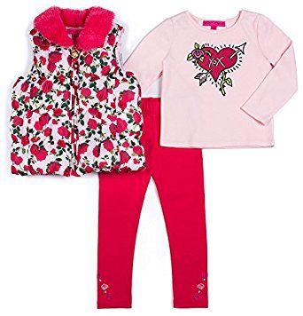 Betsey Johnson Toddler Girls 3-pc. Rose Vest Set