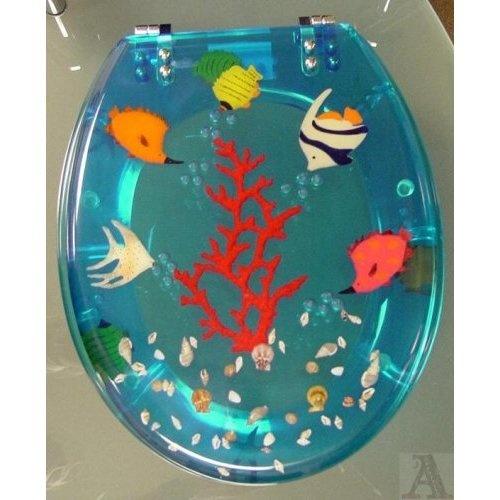 Tropical fish bathroom lucite hard toilet seat amazon for Fish toilet seat