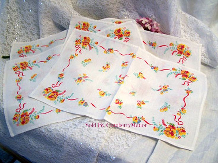 4 #Pansy Springtime Flower Place Mats #Linens #Vintage Mid Century 1950s #Gift #PlaceMats #MidCentury