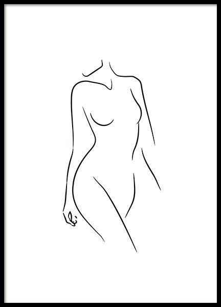 Sideway Glance Line Art Affiche dans le groupe Affiches / Illustrations chez Des…