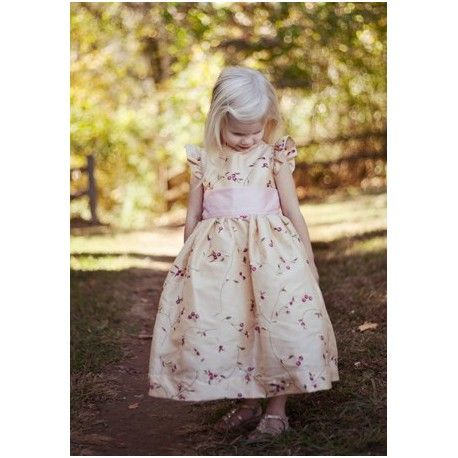 Isobel ivory and purple embroidered flower girl dress with flounce sleeves by UK designer littleeglantine.com