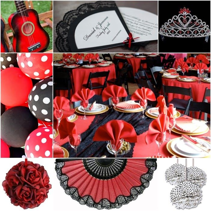 spanish themed table | Olé, Olé, Olé! For this theme think bold red and black, polka dots ...