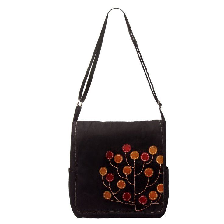 Back to School Black Canvas Satchel Bag - heavy weight cotton canvas satchel bag in vintage finish black with hand finished applique design. Features 8 internal pockets. (W 34 x H 20 x D 9 cm)