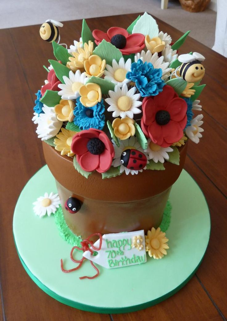 flower+pot+cakes | FLOWER POT 'MEADOW' CAKE! a six layered madiera sponge with vanilla ...
