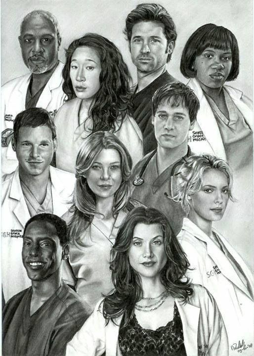 I'm not sure who drew this, but it is incredible! - Pencil drawings of Greys anatomy cast