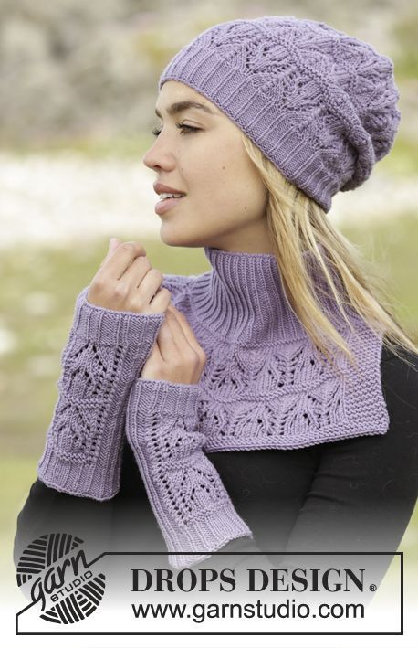 Sweet Verbena set consisting of hat, neck warmer and wrist warmers by DROPS Design. Free knitting pattern