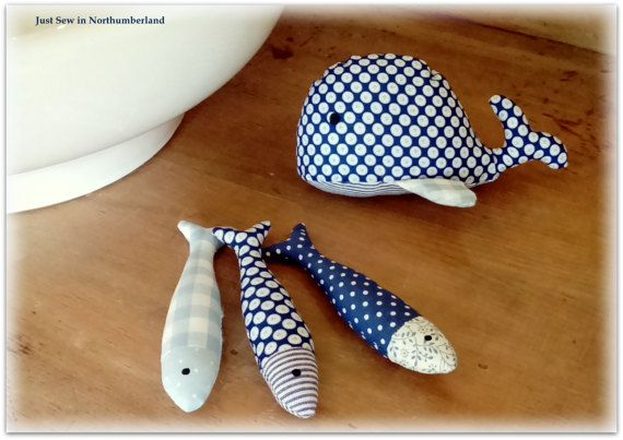 One, two, three, four, five .... once I caught a fish alive. We all know the nursery rhyme, but now you can have a shoal of fish - or sardines - to brighten up any room.  They measure approximately 15cms in length. I can sew them together in a bunch of three if you prefer  Catherine