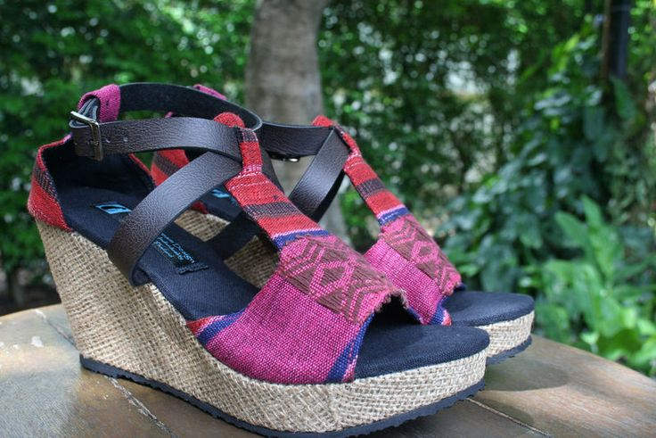 Vegan Wedge heels, faux leather cross straps, total comfort and style. Vegan womens ethnic sandals in tribal Naga embroidery.