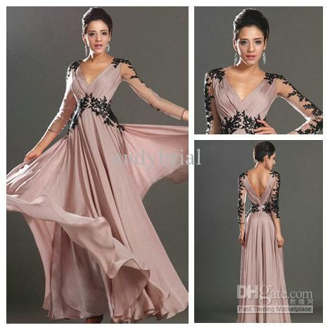 Wholesale Outrageously V-neck Black Applique Chiffon With Sleeves A-line Sexy Prom Dress Long 2013, $109.76-126.59/Piece | DHgate
