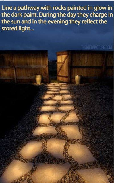 Paint your rock paths with glow in the dark paint. Charges during the day and glows at night :)