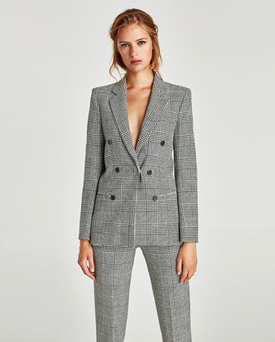 CHECKED DOUBLE-BREASTED JACKET-BLAZERS-WOMAN | ZARA United States