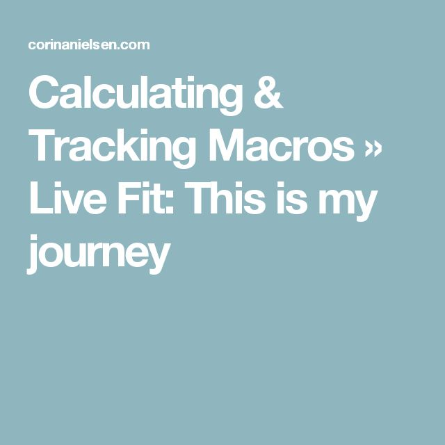 Calculating & Tracking Macros » Live Fit: This is my journey