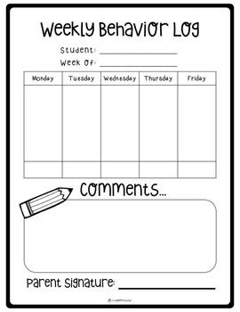 Simple and straightforward behavior chart to send home in students' take home folders to communicate with parents about child's behavior at school. Print and go!