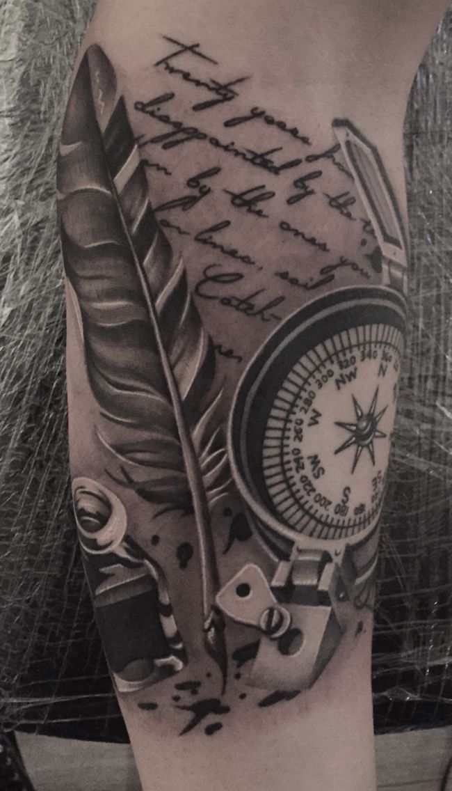 Nick Westfall tattoo. Feather quill, ink, compass tattoo sleeve start. Travel, explore, dream, discover.