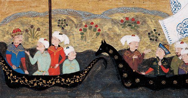 Key Khosrow et les Iraniens traversent la mer à la poursuite d'Afrâsiyâb, Murshed Ben 'Ezz al-Din, miniature, Chirâz, 1482. Collection du prince Sadruddin Aga Khan, Genève.