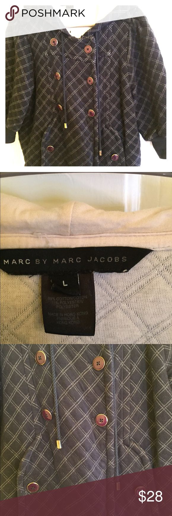 Marc by Marc Jacobs navy hoodie Large Marc by Marc Jacobs 3/4 sleeve hoodie. Navy w ivory trim. Gold button details. Worn but good condition. Marc by Marc Jacobs Tops Sweatshirts & Hoodies