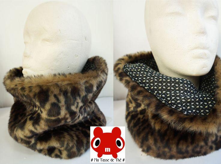 Snood Col Fourrure Léopard Tour de Cou Réversible Moelleux & Chaud ! : Echarpe, foulard, cravate par matassedethe