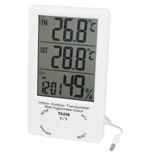 TA298 White Plastic Indoor Outdoor LCD Digital Thermometer w Hygrometer Clock