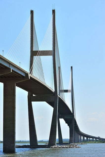 Sidney Lanier Bridge in the Golden Isles of Georgia. I drive on this every summer(: