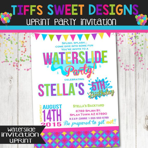 Waterslide Birthday Party Invitation Summer By TiffsSweetDesigns