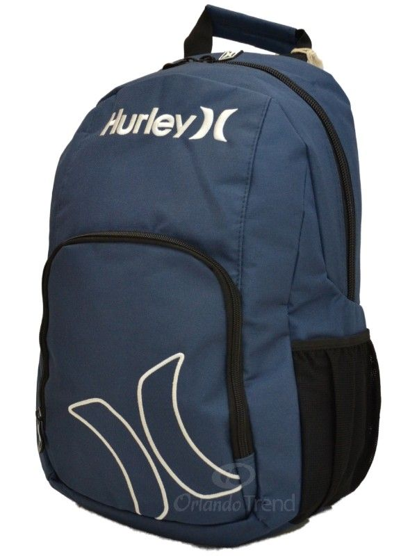 Hurley Navy Blue and White Backpack for Men, Women, Boys and Girls