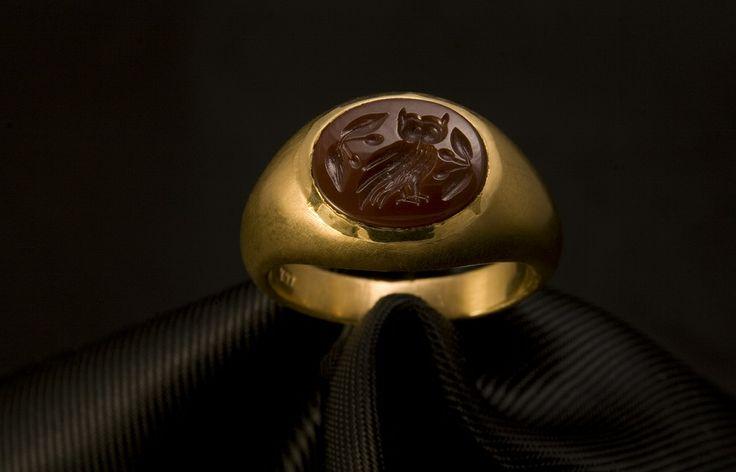 Handmade Signet Ring in K22 Gold. Goddess Athena's Sacred Owl.