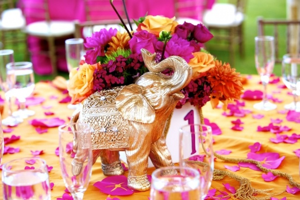 Gold and fuschia http modernweddingshawaii real