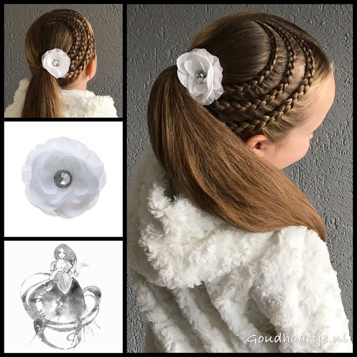 Three dutch lace braids into a ponytail with a beautiful flower from Goudhaartje.nl (see link in bio, worldwide shipping).   Hairstyle inspired by: @elisabetsisters (instagram)   #hair #hairstyle #braid #braids #plait #trenza #peinando #beautifulhair #lon