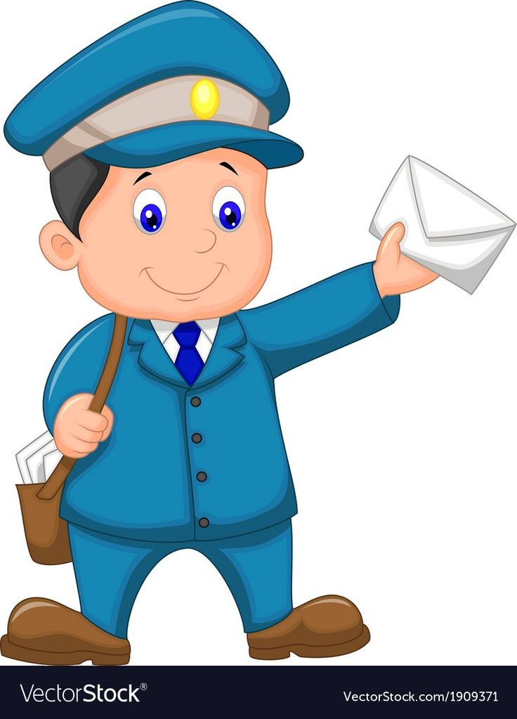 Cartoon Mail Carrier With Bag And Letter Vector Image On