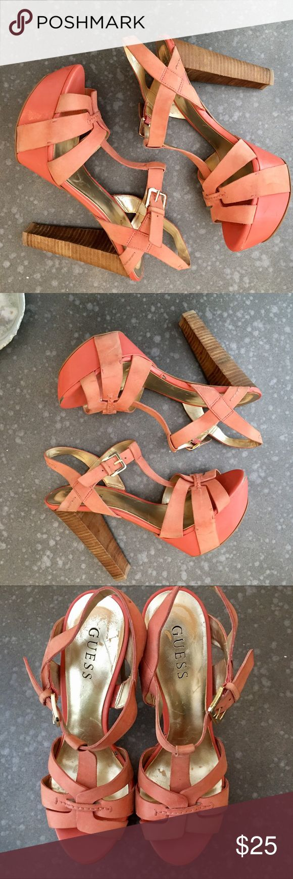 Guess by Marciano Coral Platform Heels Sandals Sandal heel Guess by Marciano Coral size 8. Beautiful shoes with minor flaws. Not noticeable during wear. Condition 7/10. Purchased at the Guess Marciano Store in Vegas for $148. Please make an offer through Posh 💕🍭 Guess by Marciano Shoes Heels