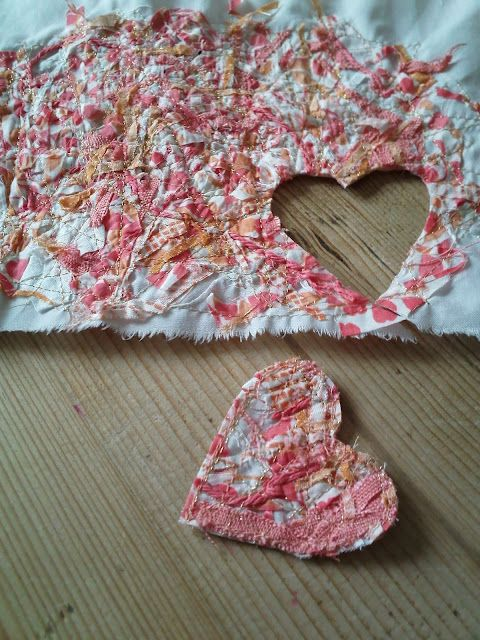 Sew tiny bits to base fabric for new fabric