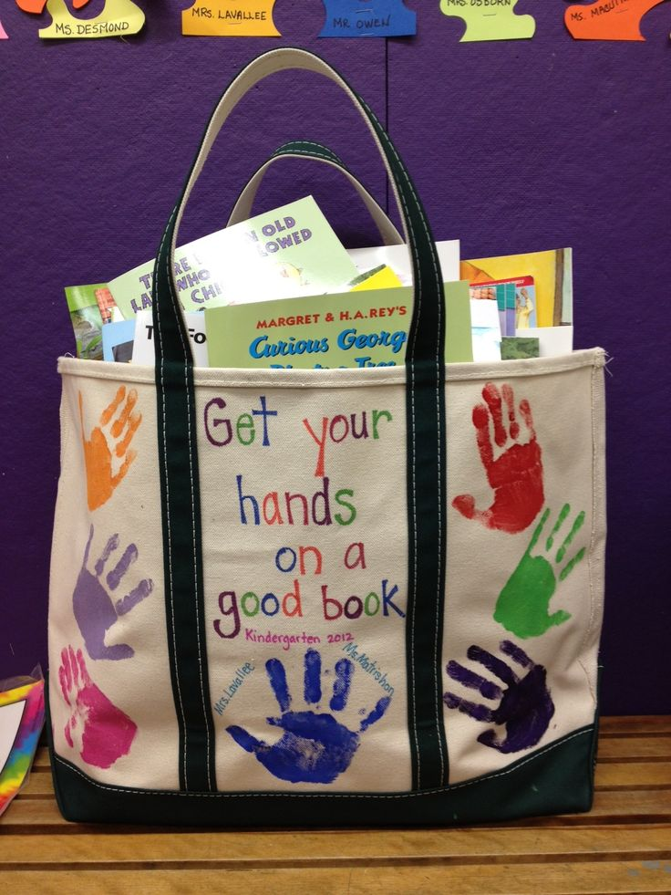 Handprints on canvas bag ... fill with a few books if any money left over?