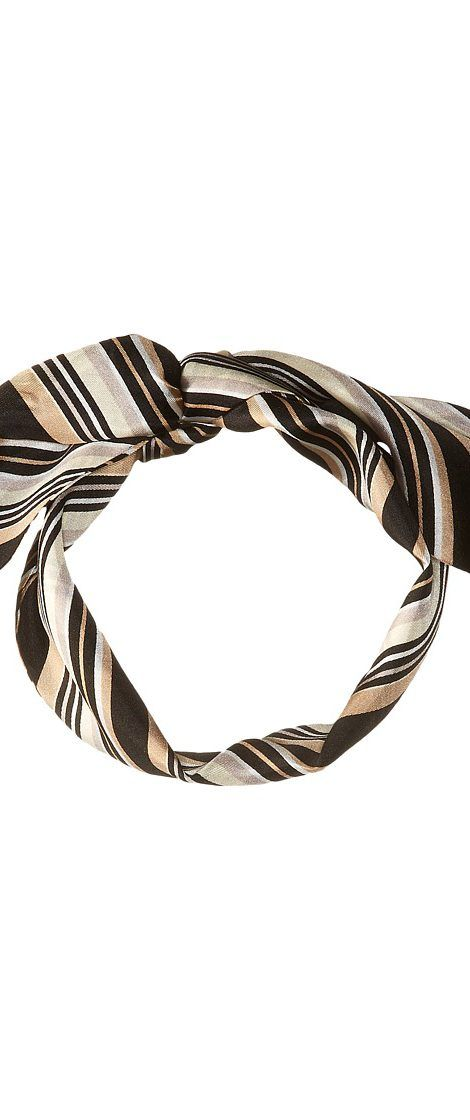 Vince Camuto Pop Stripe Twilly (Black Camel) Scarves - Vince Camuto, Pop Stripe Twilly, V4301710-015, Accessories Scarves General, Scarves, Scarves, Accessories, Gift - Outfit Ideas And Street Style 2017