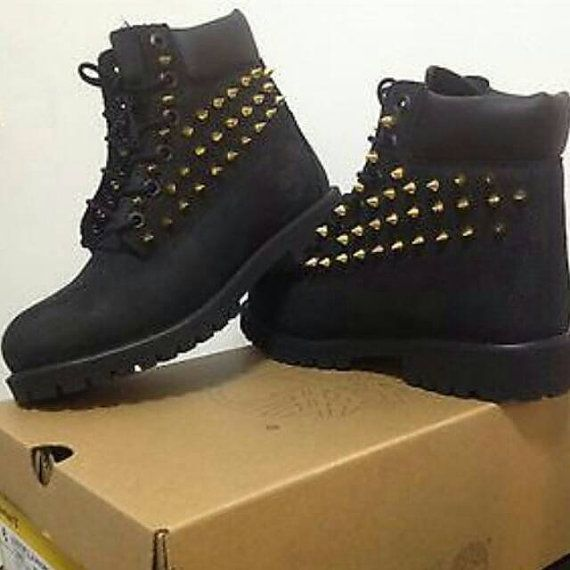 Spiked Timberland Boots by RosaCreativeSoul on Etsy