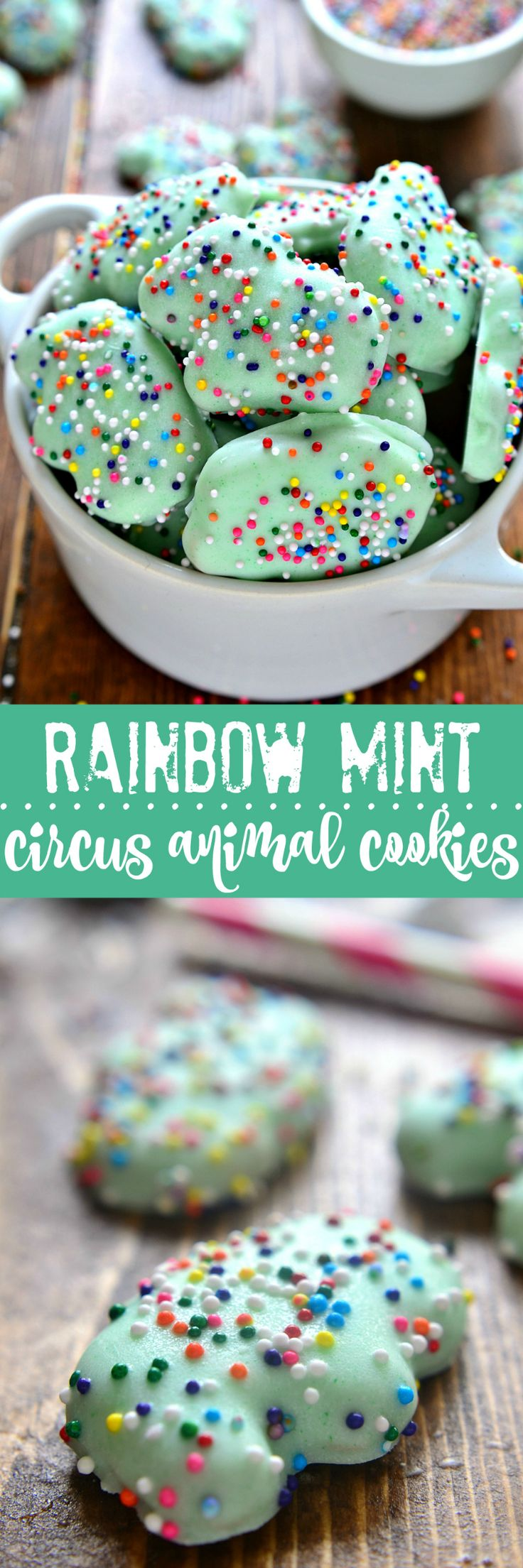 Homemade Mint Circus Animal Cookies with rainbow sprinkles! Perfect for mint lovers, perfect for St. Patrick's Day!