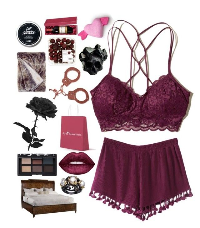 """""""💋Seductive Valentine💋"""" by pockynoodles ❤ liked on Polyvore featuring Hollister Co., Hooker Furniture, Lime Crime, Macabre Gadgets, Ann Summers and NARS Cosmetics"""