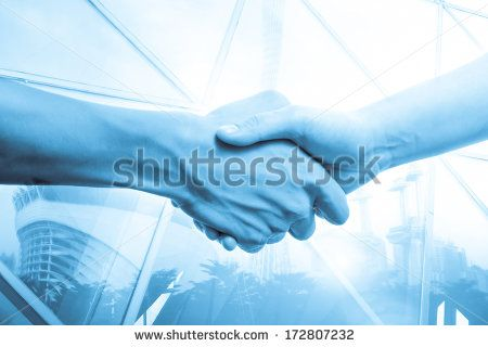 Stock Images similar to ID 185415413 - hand shake with modern urban...
