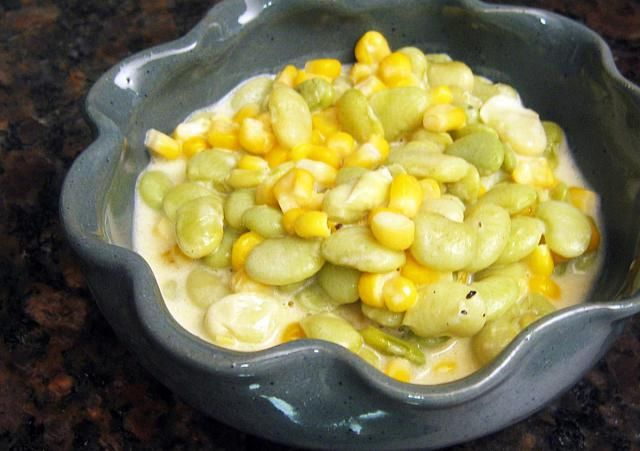 This succotash is a creamy lima bean and corn mixture with sauteed onions, garlic, and bell pepper. Use frozen lima beans and fresh or frozen corn.