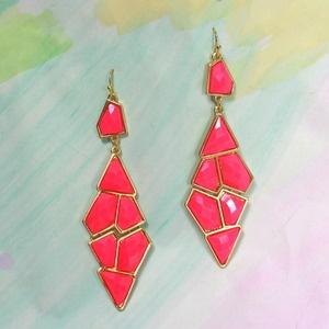 Neon Stone Earrings: Neon Stones, Earrings R, Happy Ears, Coral Stones, Dang Earrings, Coral Earrings, Furnishings Earrings, Stones Earrings, Neon Earrings