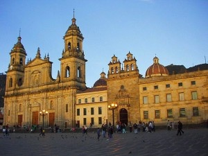 "Sunset over the ""Primada""Cathedral and  ""El Sagrario"" Chapel....Bogota"