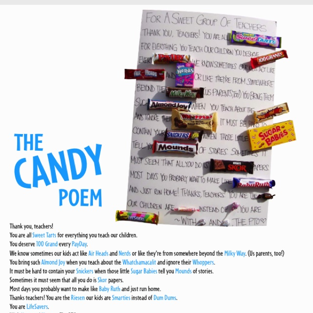 Candy poem for teacher | Arts and crafts to do | Pinterest ...