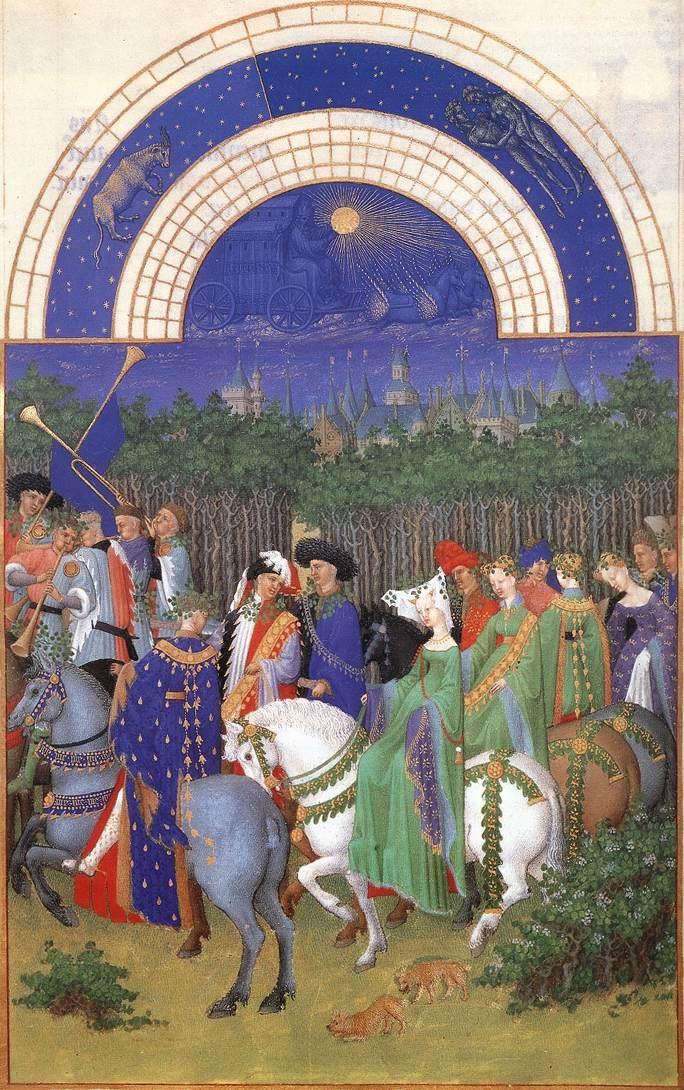 Les très riches heures du Duc de Berry: Mai (May)  1412-16  Illumination on vellum, 225 x 136 mm  Musée Condé, Chantilly