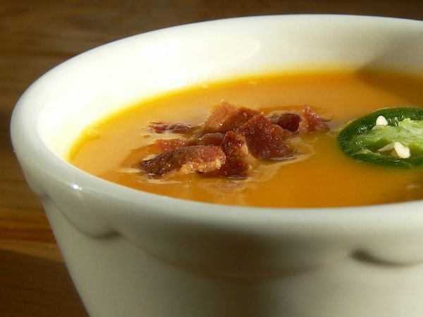 Bacon Jalapeño Butternut Squash Soup and more Paleo soup recipes on MyNaturalFamily.com #paleo #soup #recipe: this is a super easy soup... Throw everything in the pot, cook it, then used the immersion blender. Made about 6 servings. Only cooked on low for about 1.5 hours instead of the 4-6 in the recipe. #paleo
