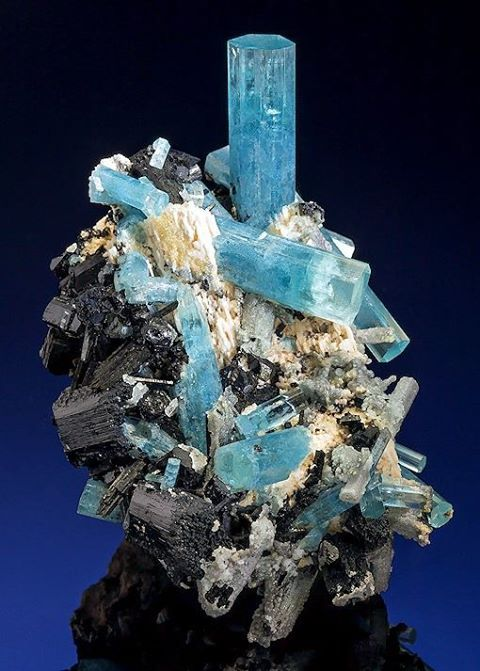 Aquamarine with Schorl Tourmaline on Feldspar -- Erongo Mountain, Namibia.